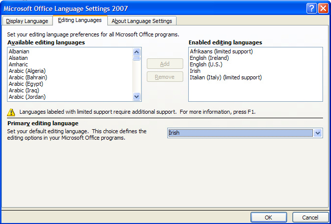 microsoft office language interface pack 2007